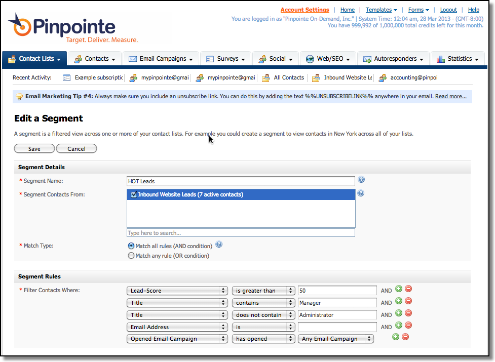 Target your email prospects with precision using Pinpointe's Smart-Segments